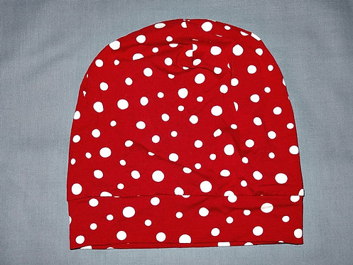 Beanie Punkte rot weiß Mütze Handmade genäht Jersey Mädchen