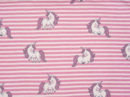 Einhorn Streifen rosa weiß Organic Jersey Baumwolljersey Meterware Stoff