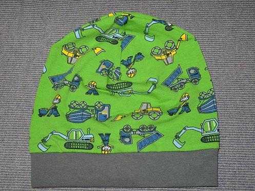 Beanie Baustelle grün Mütze Handmade genäht Jersey