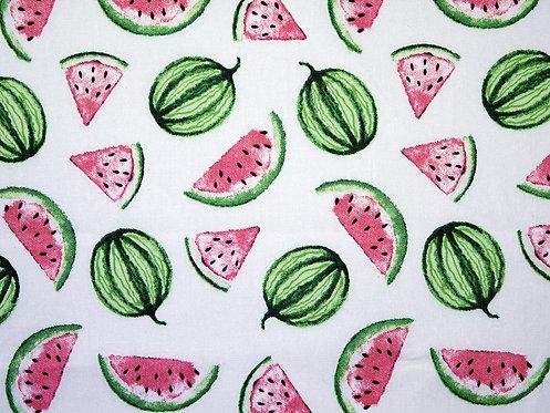 Obst Melone auf weiß Sommer allover Baumwolle Meterware