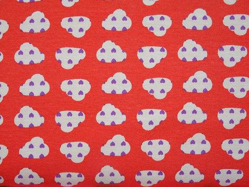 Wolke mit Herz lila auf hellrot leichter Jersey Meterware Baumwolljersey