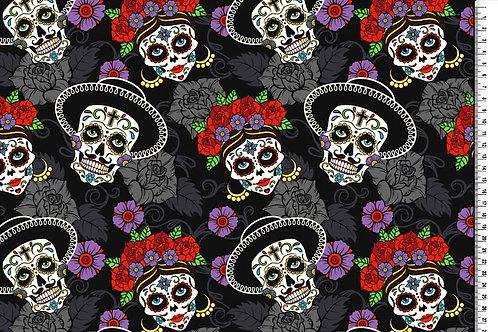 Blumen Skull bunt auf schwarz grau Baumwolle Meterware