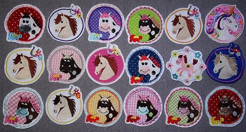 Pferd Button Aufnäher Pferde Kreis