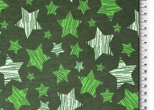 Wintersweat Sweat Shirt Glitzer Sterne grün Meterware angeraut Weihnachten