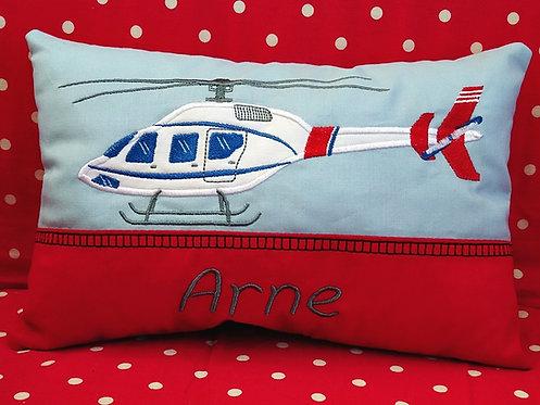Namenskissen mit Hubschrauber in Wunschfarbe