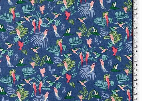 Paradies Vogel Viskosejersey Jersey Viskose Meterware blau