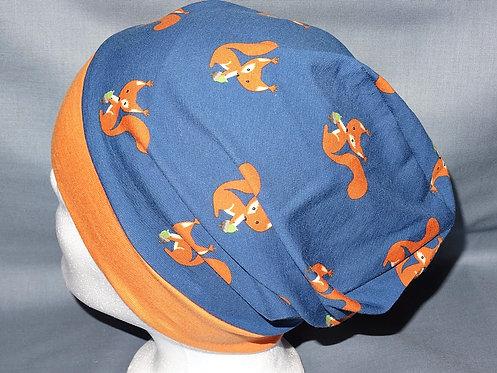 Beanie Eichhörnchen petrol  Mütze Tiere Handmade genäht Jersey
