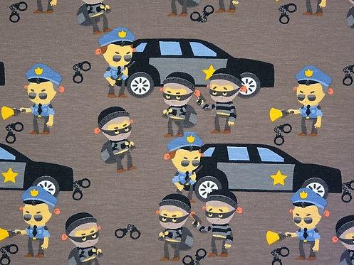Polizei Polizist und Dieb Jersey Baumwolle Meterware Baumwolljersey Polizeiauto