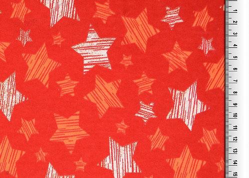 Wintersweat Sweat Shirt Glitzer Sterne rot Meterware angeraut Weihnac