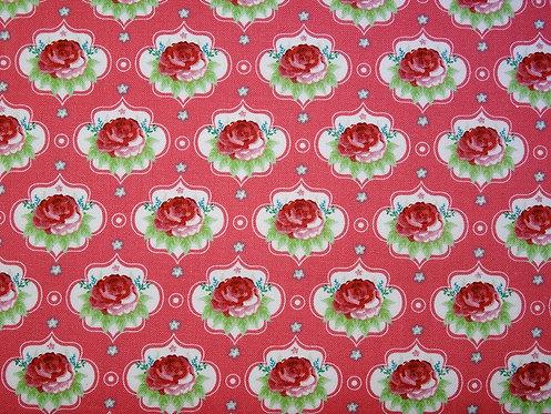 Rosen auf dunkelrosa - lachs  Baumwolle