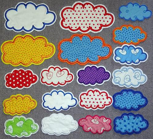Wolke Aufnäher Applikation in vielen Farben Wolken