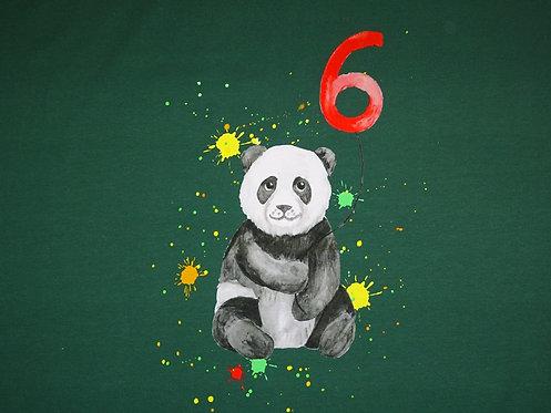 6. Geburtstag mit Panda Bär Panel Digtaldruck Jersey Baumwolljersey