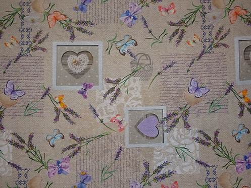Canvas Lavendel Schmetterling Frankreich Herz Baumwolle Meterware shabby chic