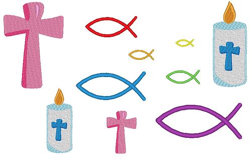 Kommunion Christenfisch Kreuz Stickdatei