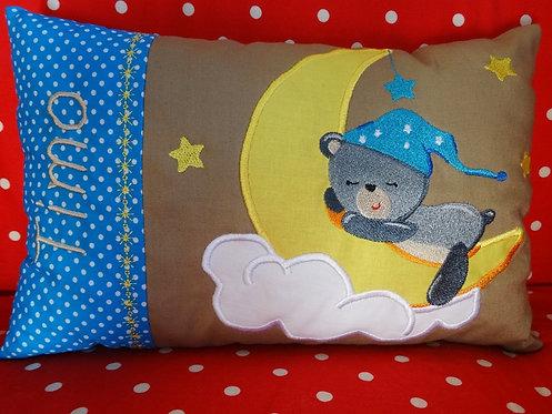 Babybär Namenskissen mit Mond in Wunschfarbe