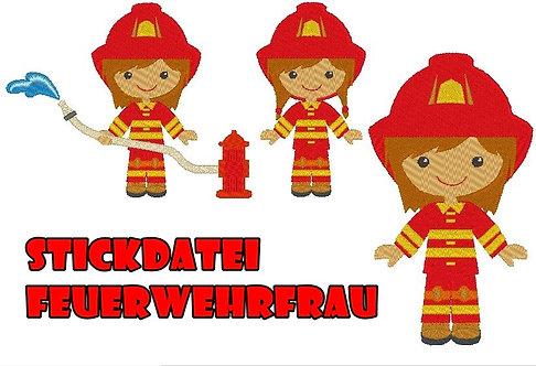 Feuerwehr Frau / Mädchen Stickdatei