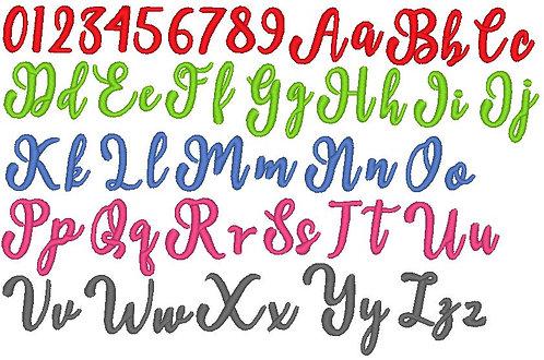 Buchstaben Schreibschrift klein und  groß + Zahlen Stickdatei
