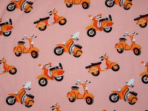 Leiche Webware mit Motorroller Roller Moped orange Viskose Meterwar
