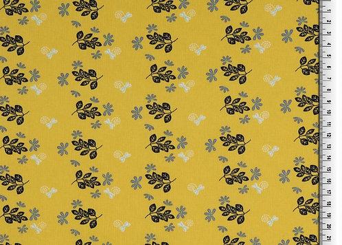 Organic Baumwolle Blätter auf gelb Webware