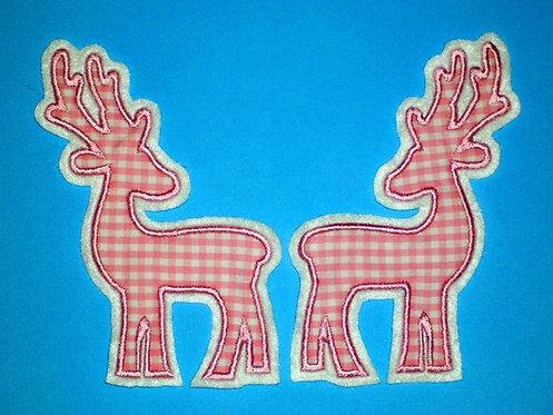 2 Hirsche in rosa Aufnäher