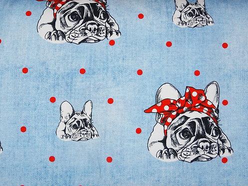Bulldogge mit Schleife auf hellblau - Jersey Fräulein von Julie