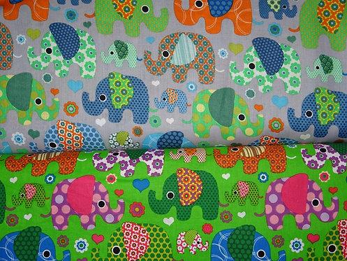 Elefanten bunt auf grün oder grau allover Baumwolle Meterware