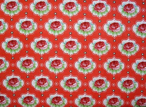 Rosen auf hellrot Baumwolle