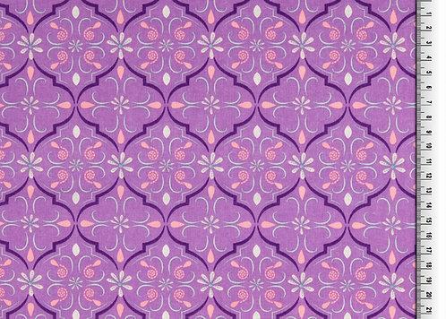 Organic Baumwolle Ornamente auf lila Webware