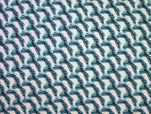 türkis weiß schlicht Damen Jersey Baumwolle Meterware Baumwolljersey Libelle