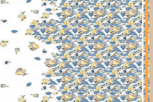 Stretch Elastic Satin Baumwolle mit Fischen blau Meterware  Webware