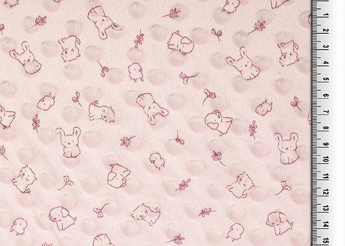 Bubble Fleece Baby zartrosa Hund Katze Küken Hase Meterware weich zart