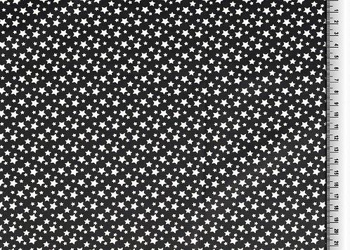 kleine Sterne weiß auf schwarz Baumwolle Meterware