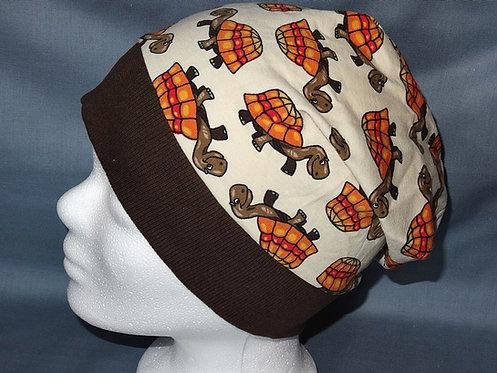 Beanie Schildkröte beige Mütze Tiere Handmade genäht Jersey