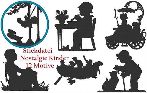 Nostalgie Kinder Silhouette Stickdatei Vol.2