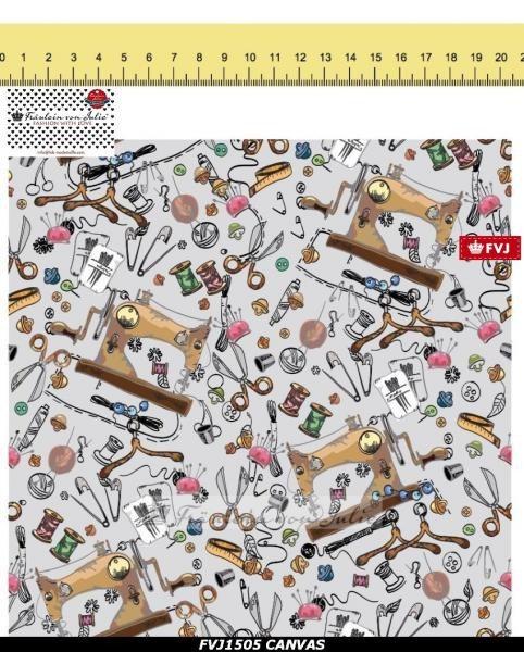Canvas Nähmaschine auf hellgrau nähen Garn DIY Fräulein von Julie Taschenstoff