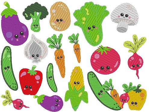 Gemüse gefüllt Stickdatei