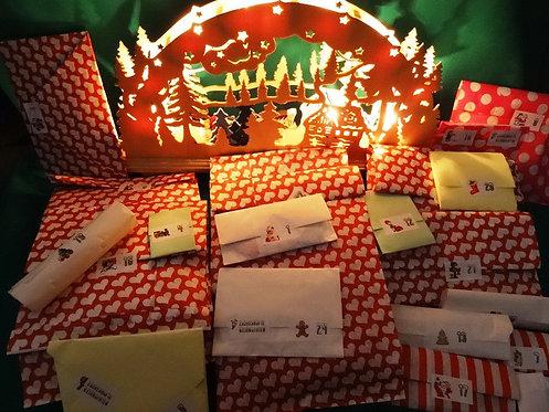 XXL DIY Adventskalender gefüllt 12 oder 24 Tage Stoffe + Aufnäher