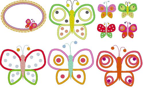 Schmetterling mit Punkten Stickdatei