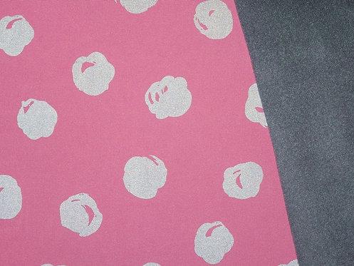 Magic Reflection Softshell rosa grau Fleece Blasen Meterware Winddicht
