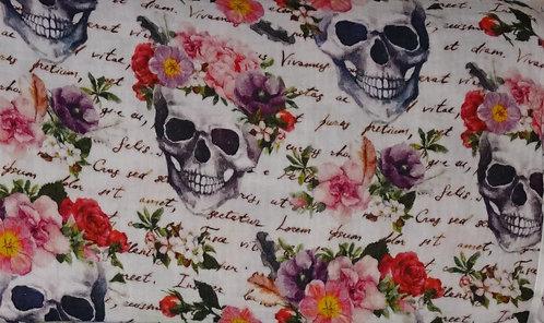 Musselin Skull Blumen Schrift bunt weiß FVJ Fräulein von Julie Double Gauze