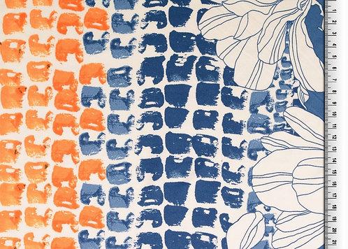 Motiv Verlauf Jersey mit Blumen Bordüre weich Polyesterjersey Meterware