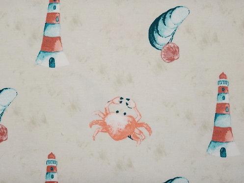 Leuchtturm Krabbe Muschel  Maritim Organic Baumwolle Jersey Bio Jersey creme
