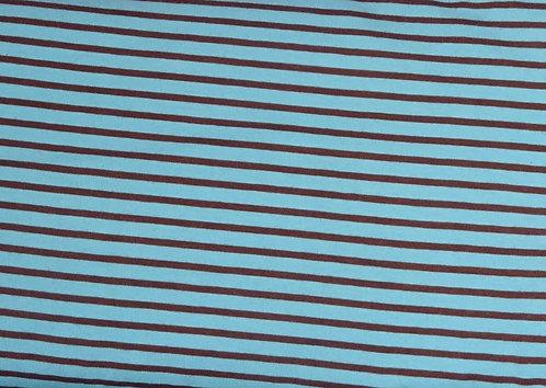 Campan Jersey Streifen hellblau braun Meterware gestreift Ringel
