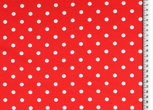 Punkte 7mm rot weiß Jersey Baumwolljersey Meterware