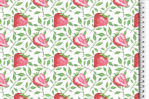 Obst Erdbeere auf weiß Sommer allover Baumwolle Meterware