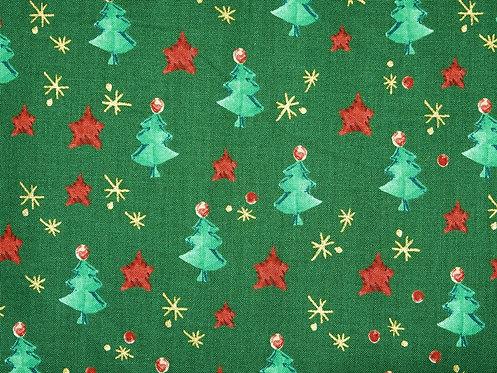 Weihnachten Weihnachtsstoff Tanne Sterne Golddruck Baumwolle Meterware