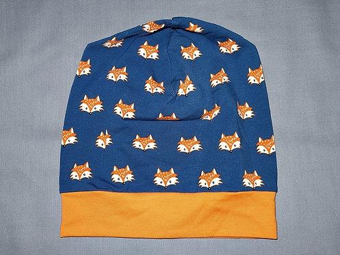 Beanie  Fuchs petrol Mütze Tiere Handmade genäht Jersey