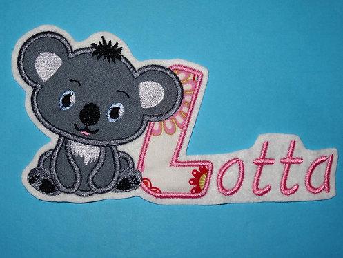 Koala Bärchen mit Name Aufnäher