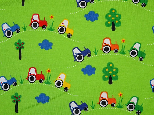Traktor auf hellgrün Jersey Baumwolljersey Tante Ema