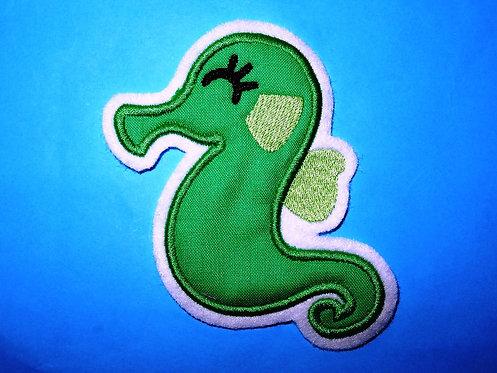 Seepferdchen Aufnäher grün